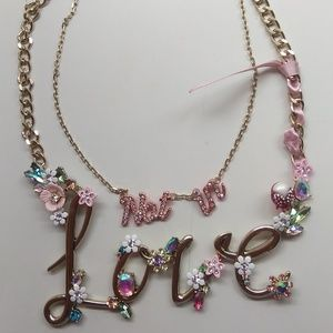 "Betsey Johnson New ""Not in"" ""Love"" Floral Necklace"